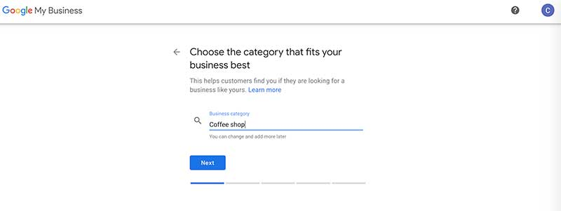google my business category coffee shop
